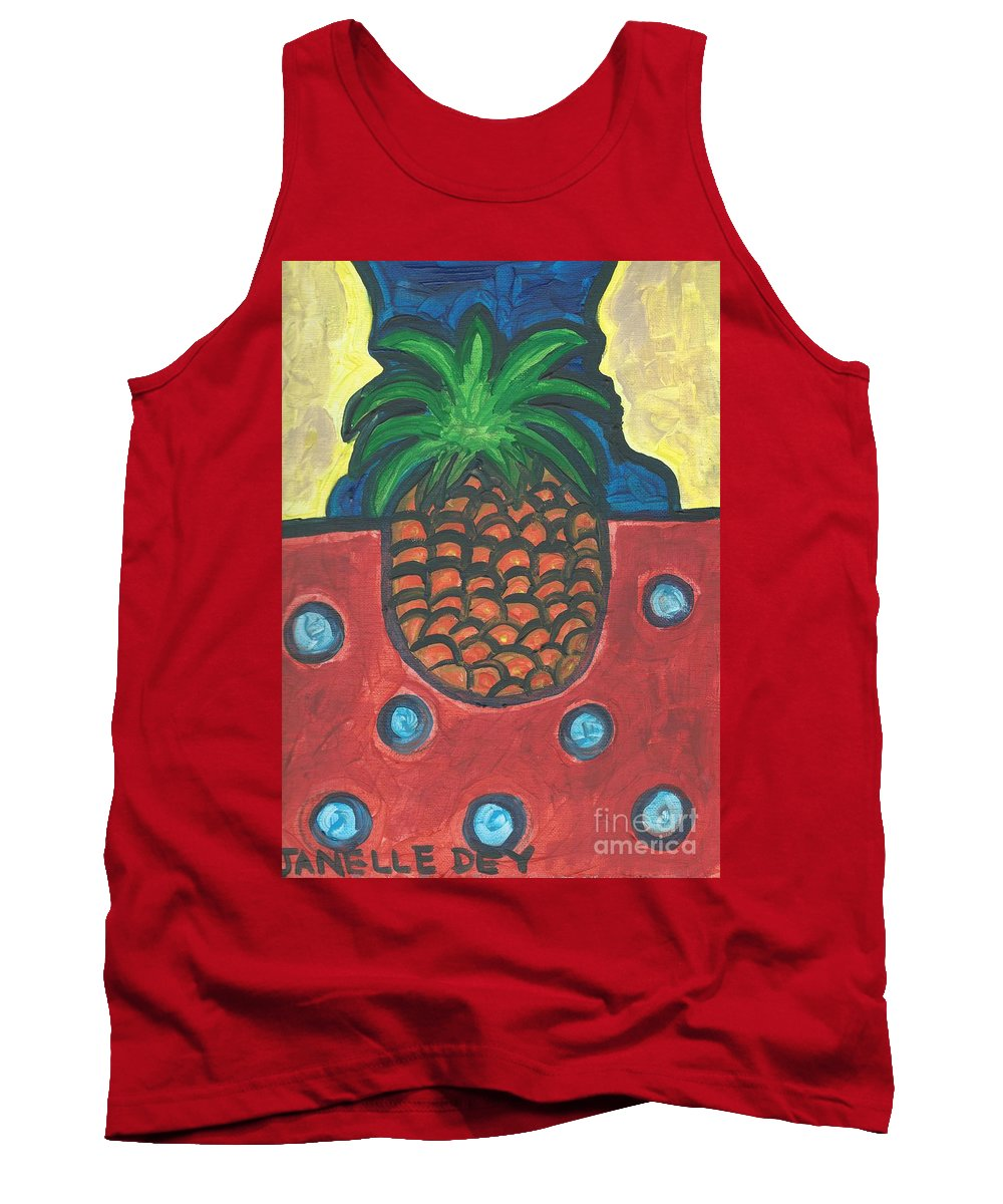 Pineapple Tank Top featuring the painting Get Over Yourself by Janelle Dey