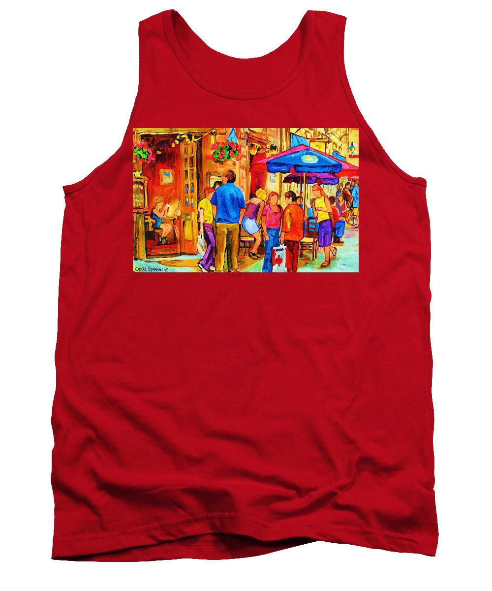 Montreal Cafe Scenes Tank Top featuring the painting Girl In The Cafe by Carole Spandau