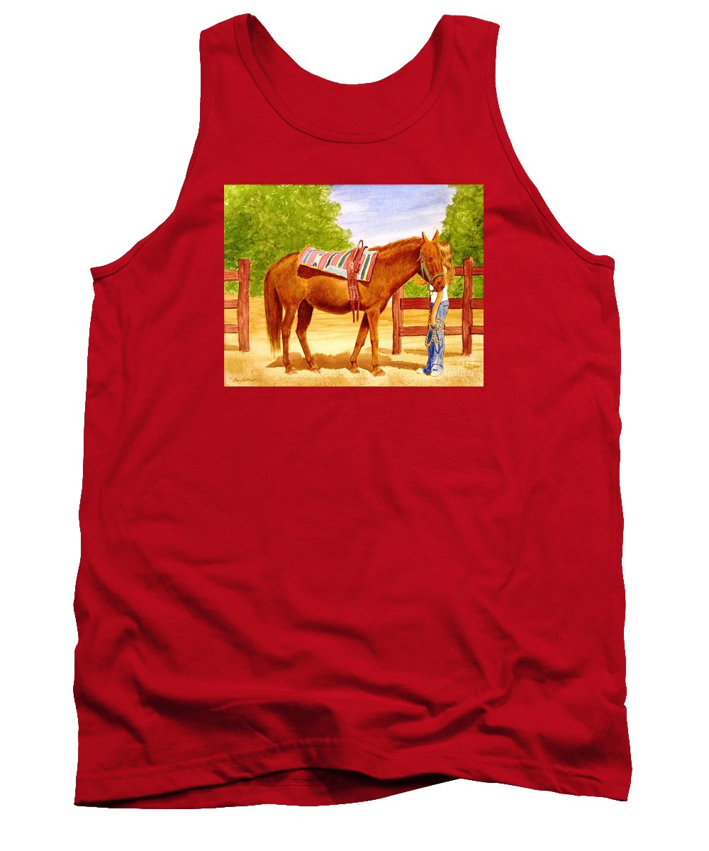 Equine Tank Top featuring the painting Girl talk by Stacy C Bottoms