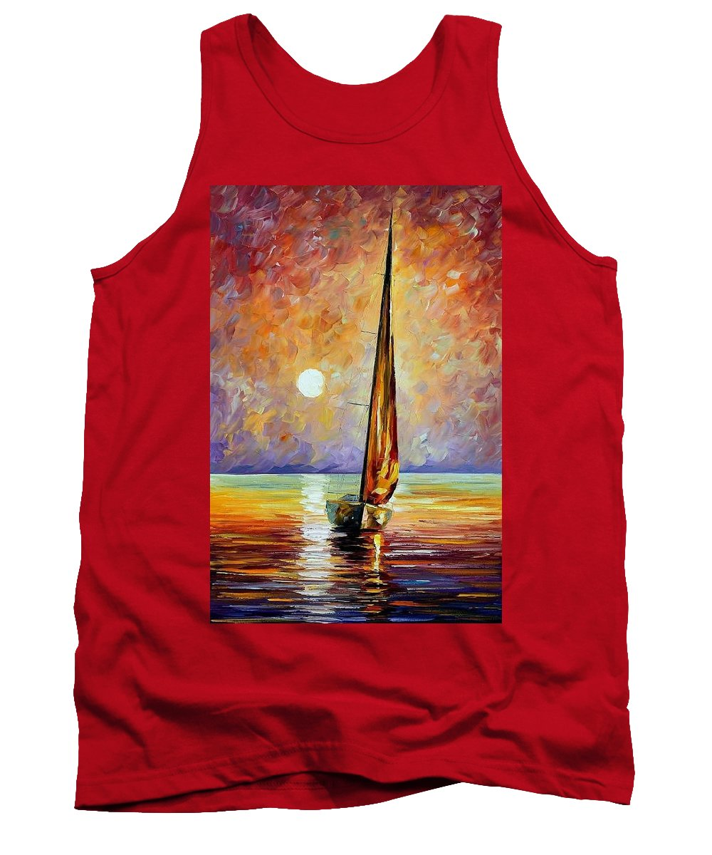 Afremov Tank Top featuring the painting Gold Sail by Leonid Afremov