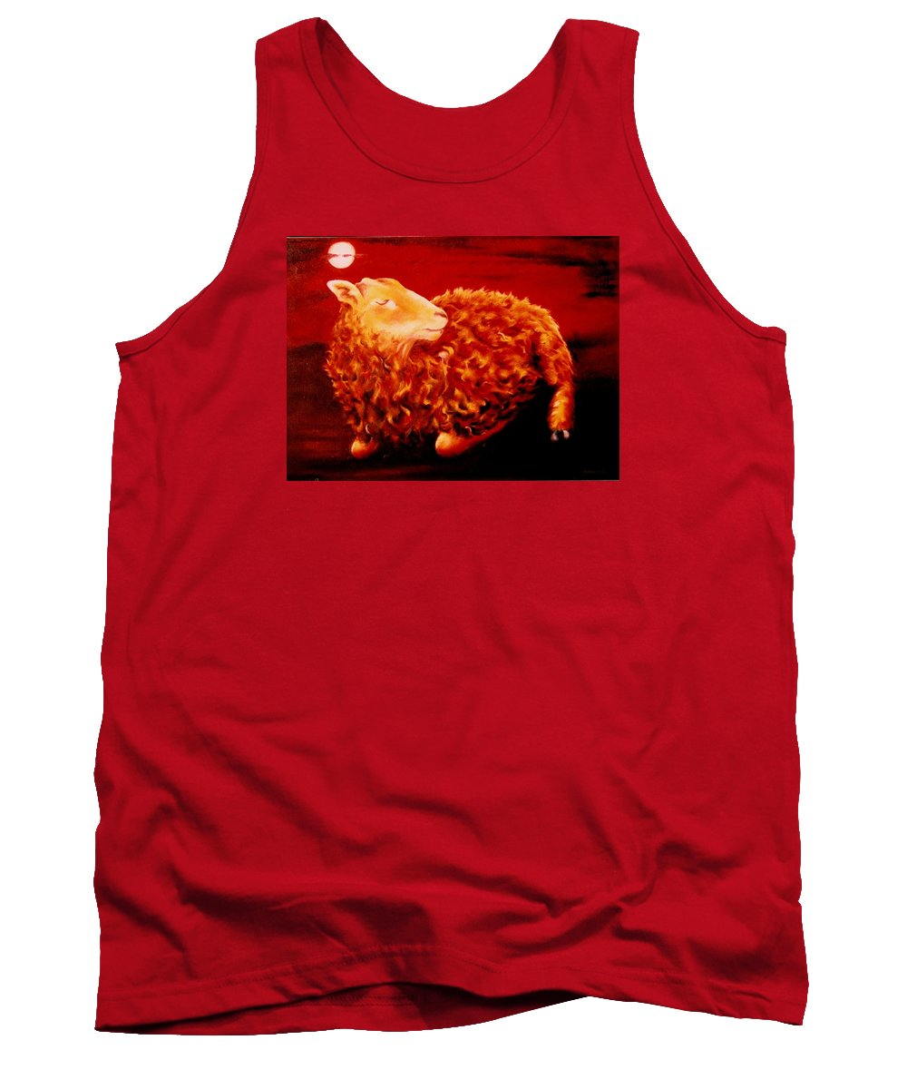 Sunset Tank Top featuring the painting Golden Fleece by Mark Cawood