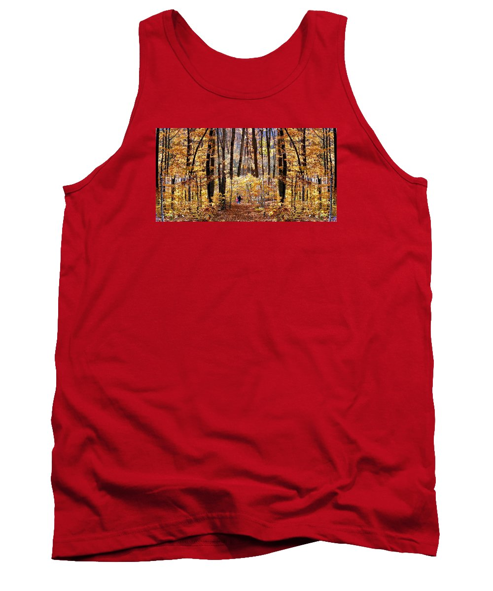 Autumn Fall Foliage Leaves Trees Landscape Yellow Orange Forest Woods Photography Tank Top featuring the photograph Golden Gate by Dave Martsolf