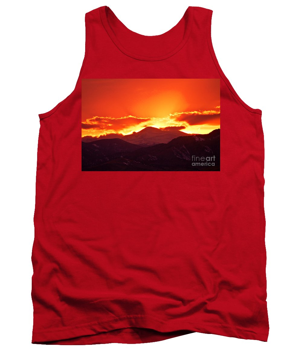 Sunset Tank Top featuring the photograph Golden Rocky Mountain Sunset by James BO Insogna