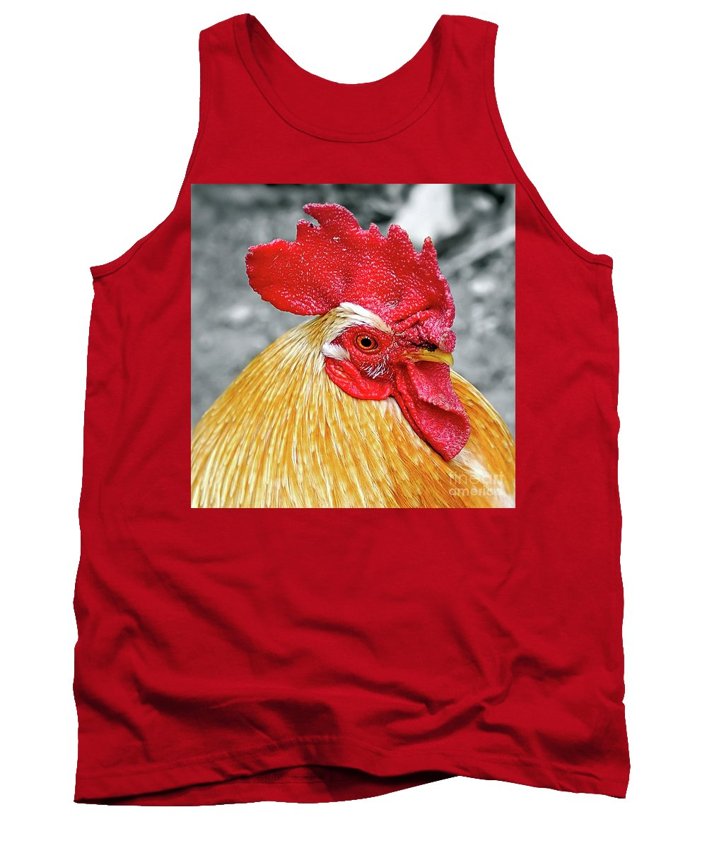 Photography Tank Top featuring the photograph Golden Rooster Portrait by Kaye Menner