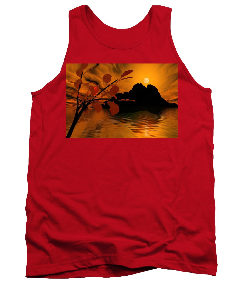 Landscape Tank Top featuring the digital art Golden Slumber Fills My Dreams. by David Lane