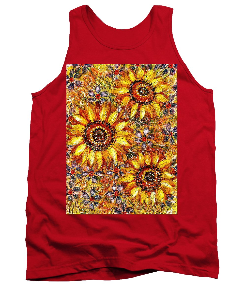 Sunflowers Tank Top featuring the painting Golden Sunflower by Natalie Holland
