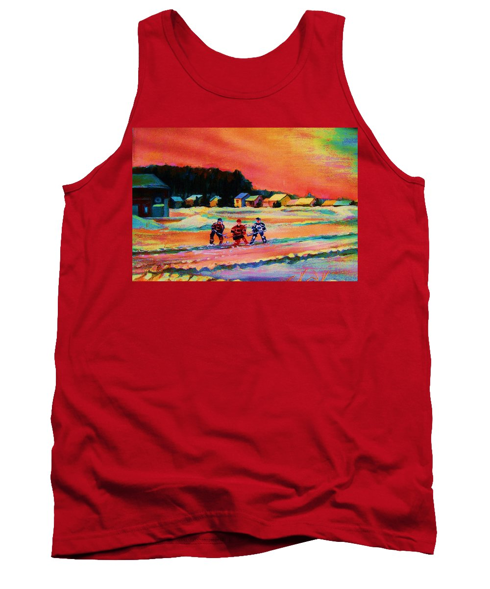 Hockey Landscape Tank Top featuring the painting Gorgeous Day For A Game by Carole Spandau