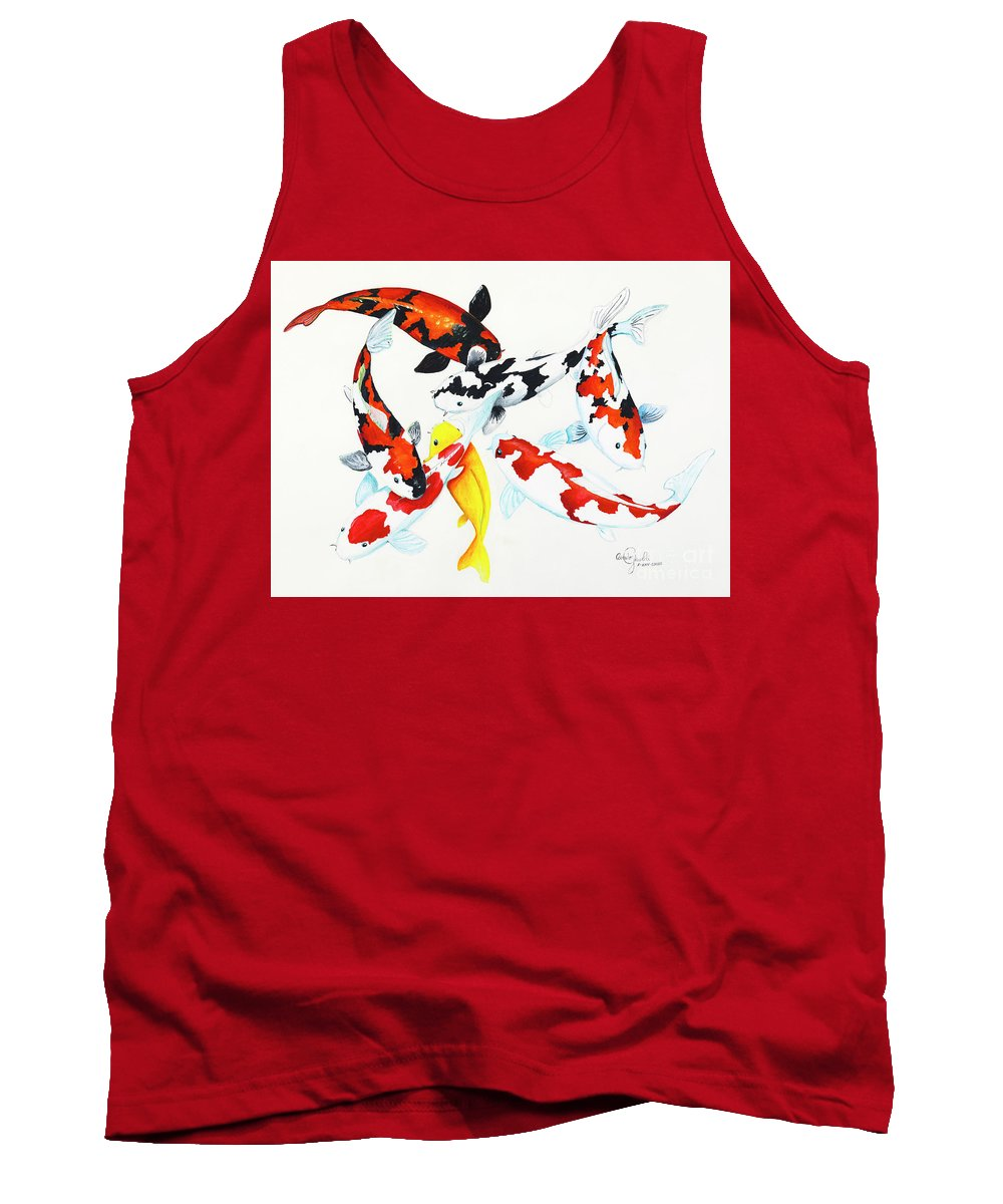 Koi Tank Top featuring the painting Graceful Koi by Corrado Ghioldi