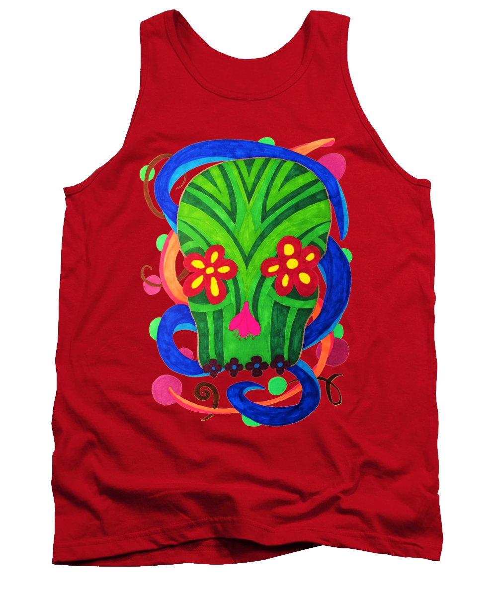 Dia De Los Muertos Tank Top featuring the drawing Grassy Skull Transparent by Wendy Rickwalt