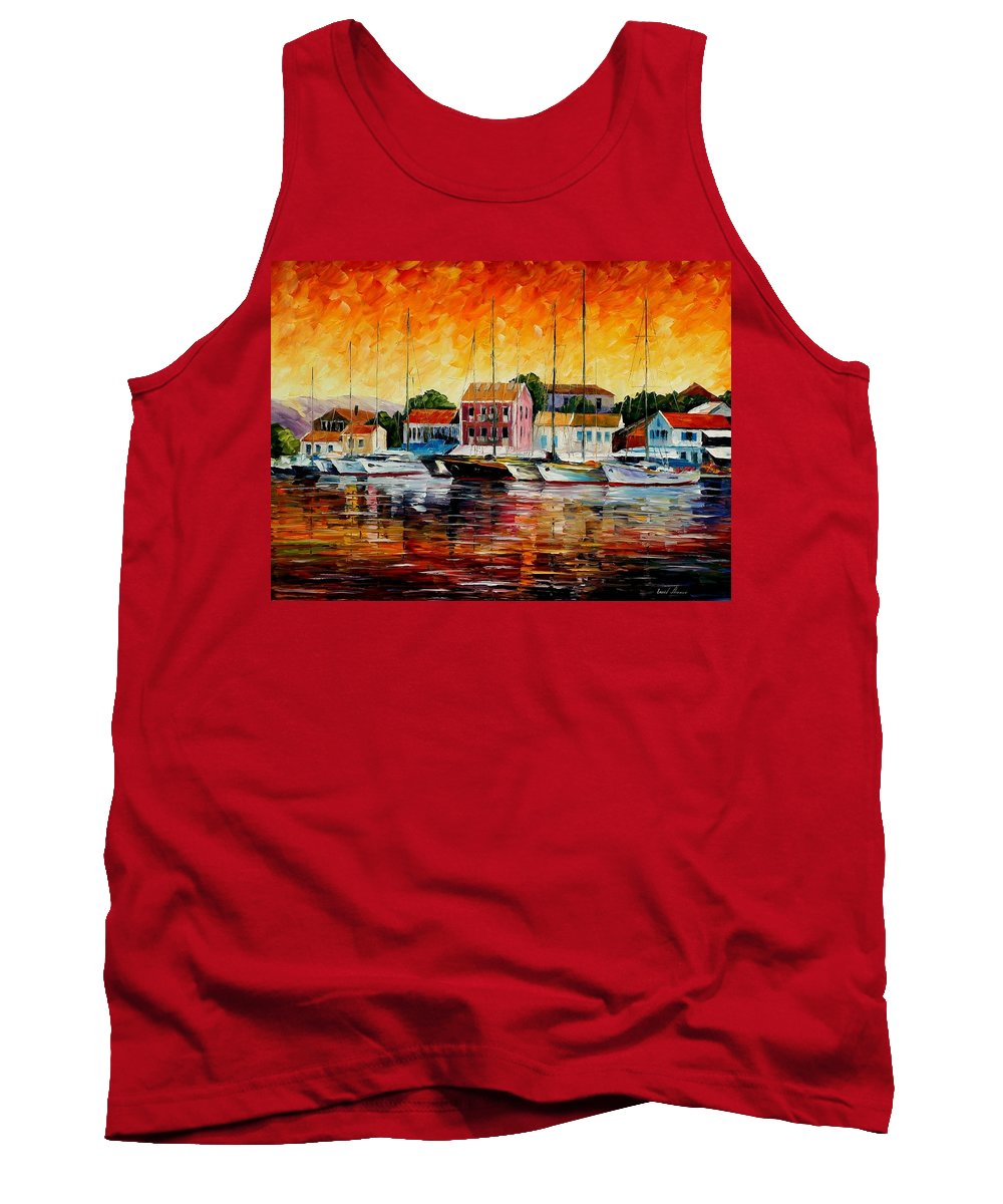 Afremov Tank Top featuring the painting Greece - Fiskardos by Leonid Afremov