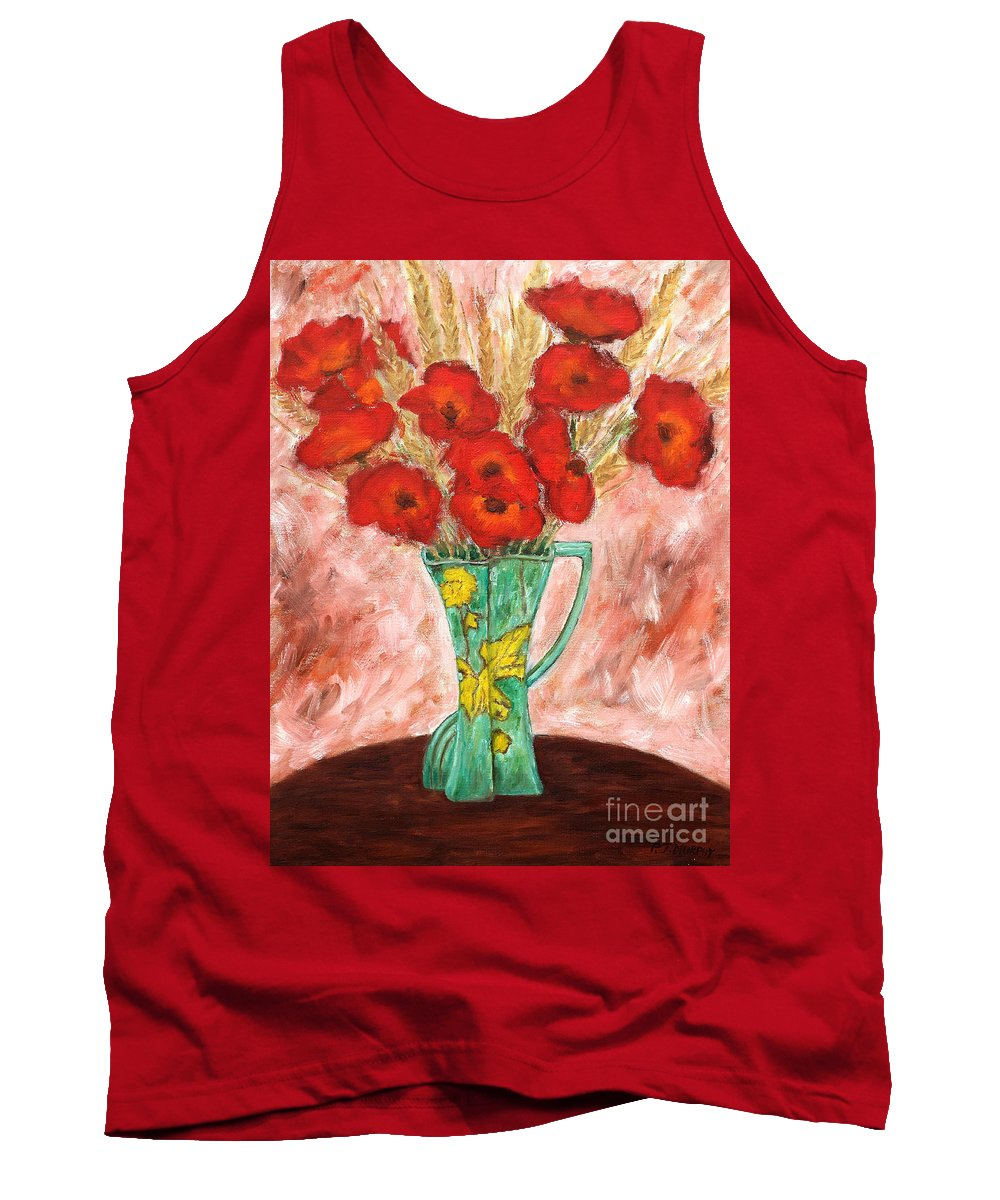 Valentine Tank Top featuring the painting Green Vase And Poppies by Patrick J Murphy