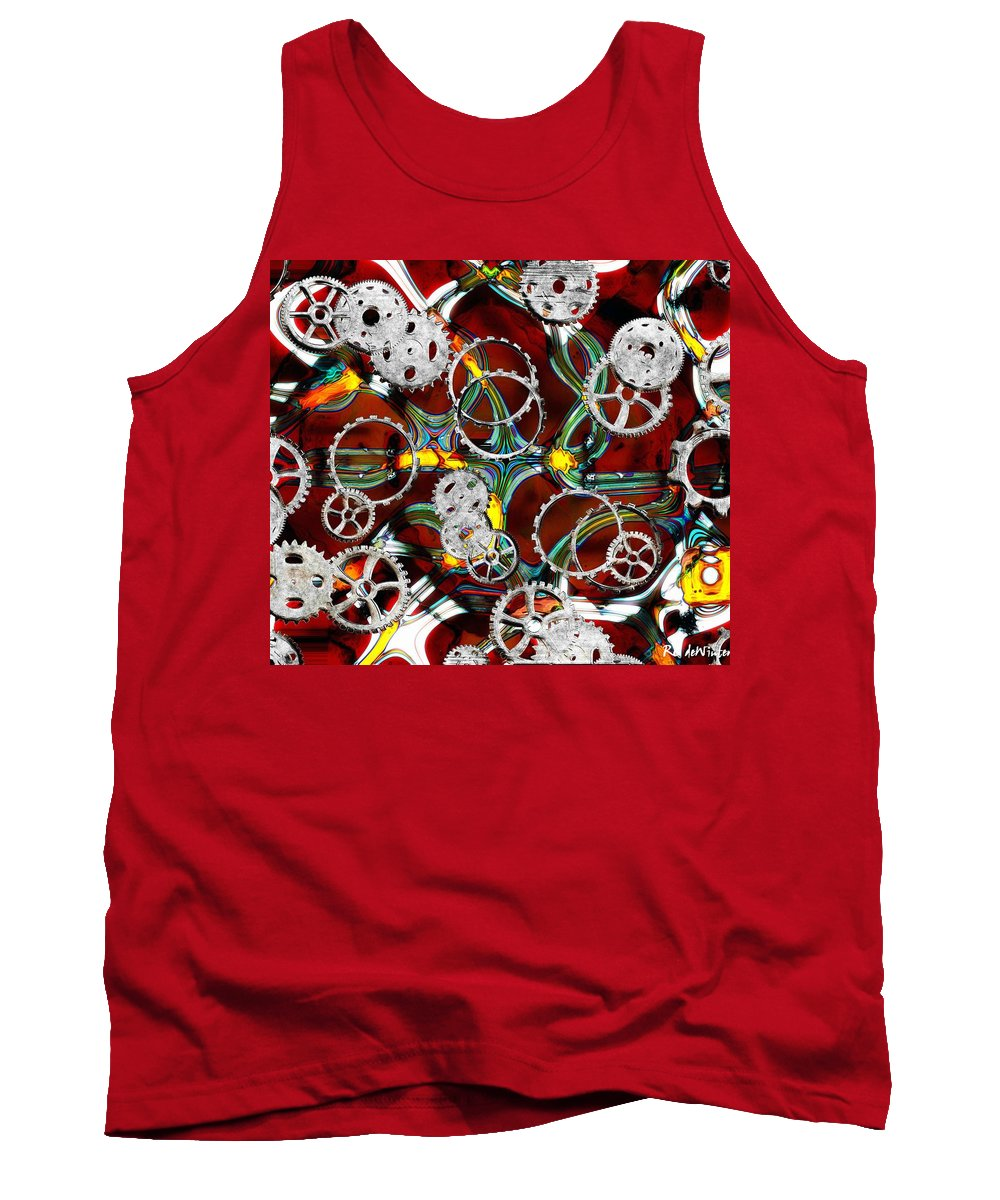 Gears Tank Top featuring the painting Grinding The Gears by RC DeWinter