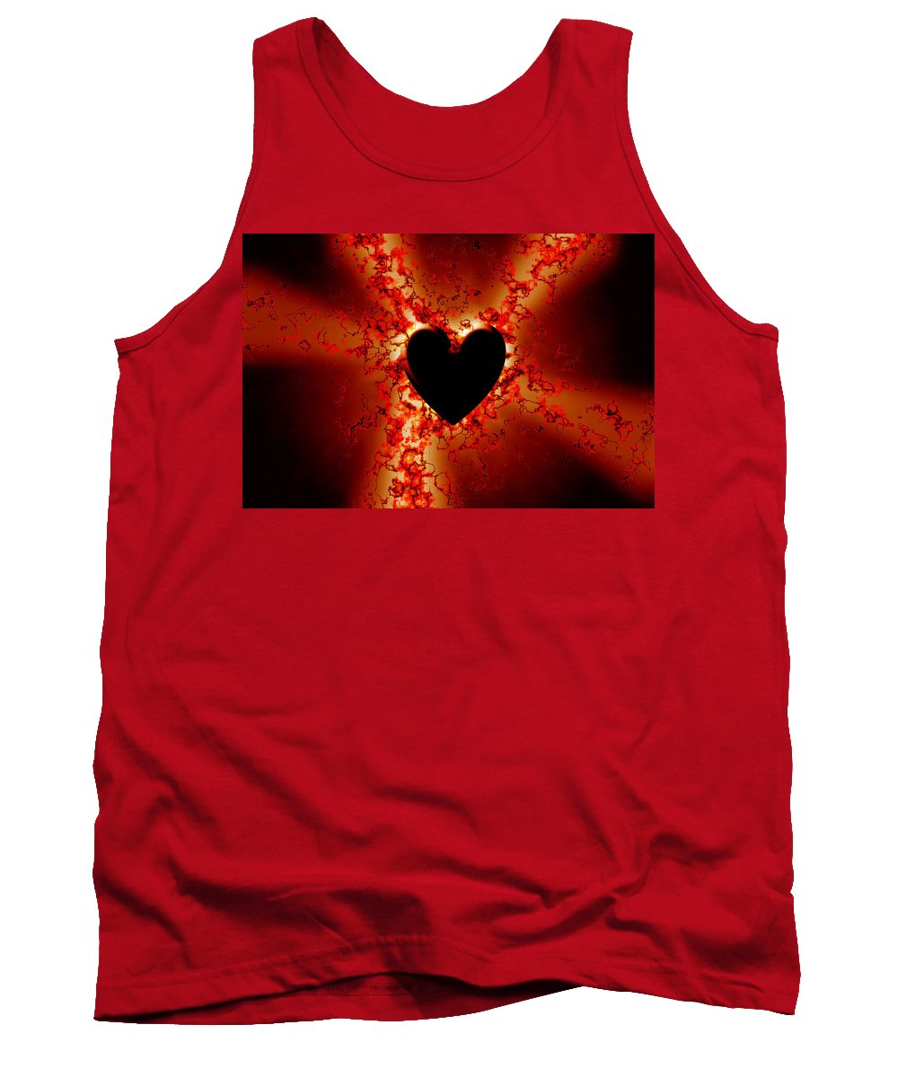Grunge Tank Top featuring the digital art Grunge Heart by Phill Petrovic