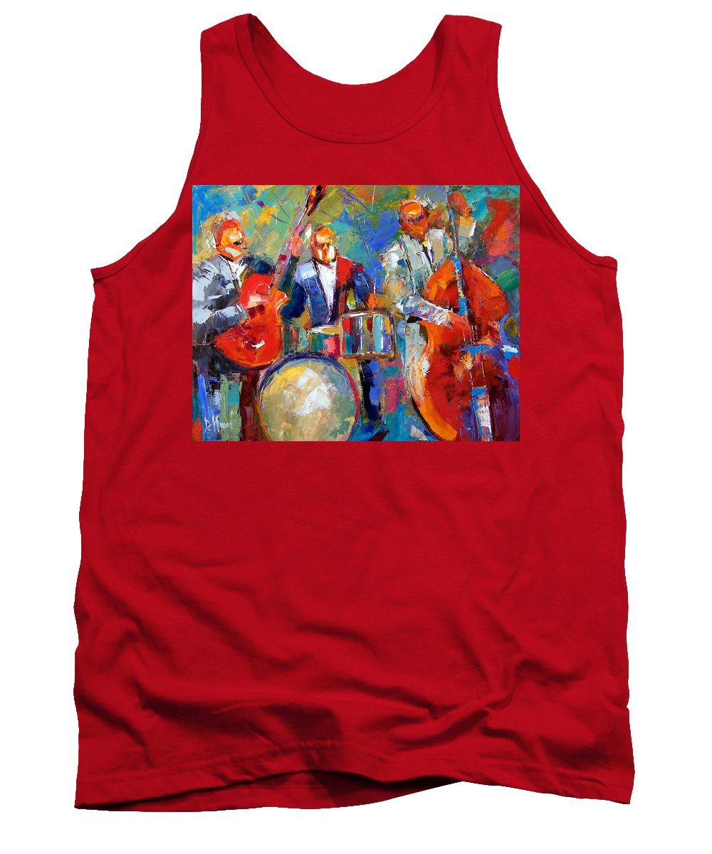 Jazz Painting Tank Top featuring the painting Guitar Drums And Bass by Debra Hurd