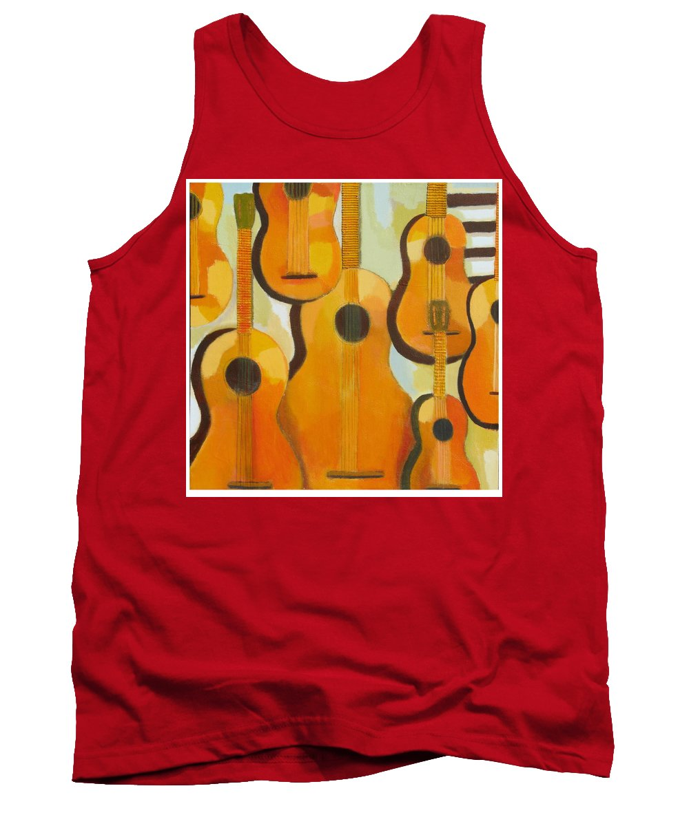 Abstract Tank Top featuring the painting Guitars by Habib Ayat