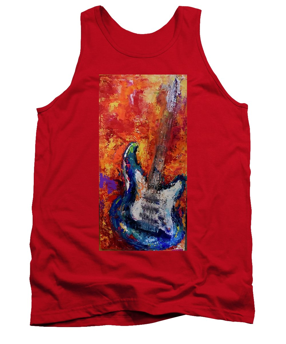 Guitar Tank Top featuring the painting Hands On by Heather Roddy