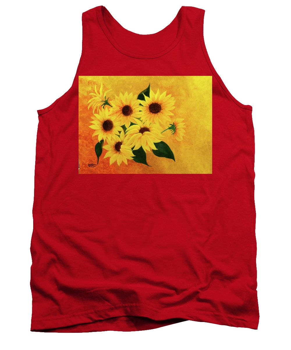 Yellow Tank Top featuring the painting Happiness by Alice Blue