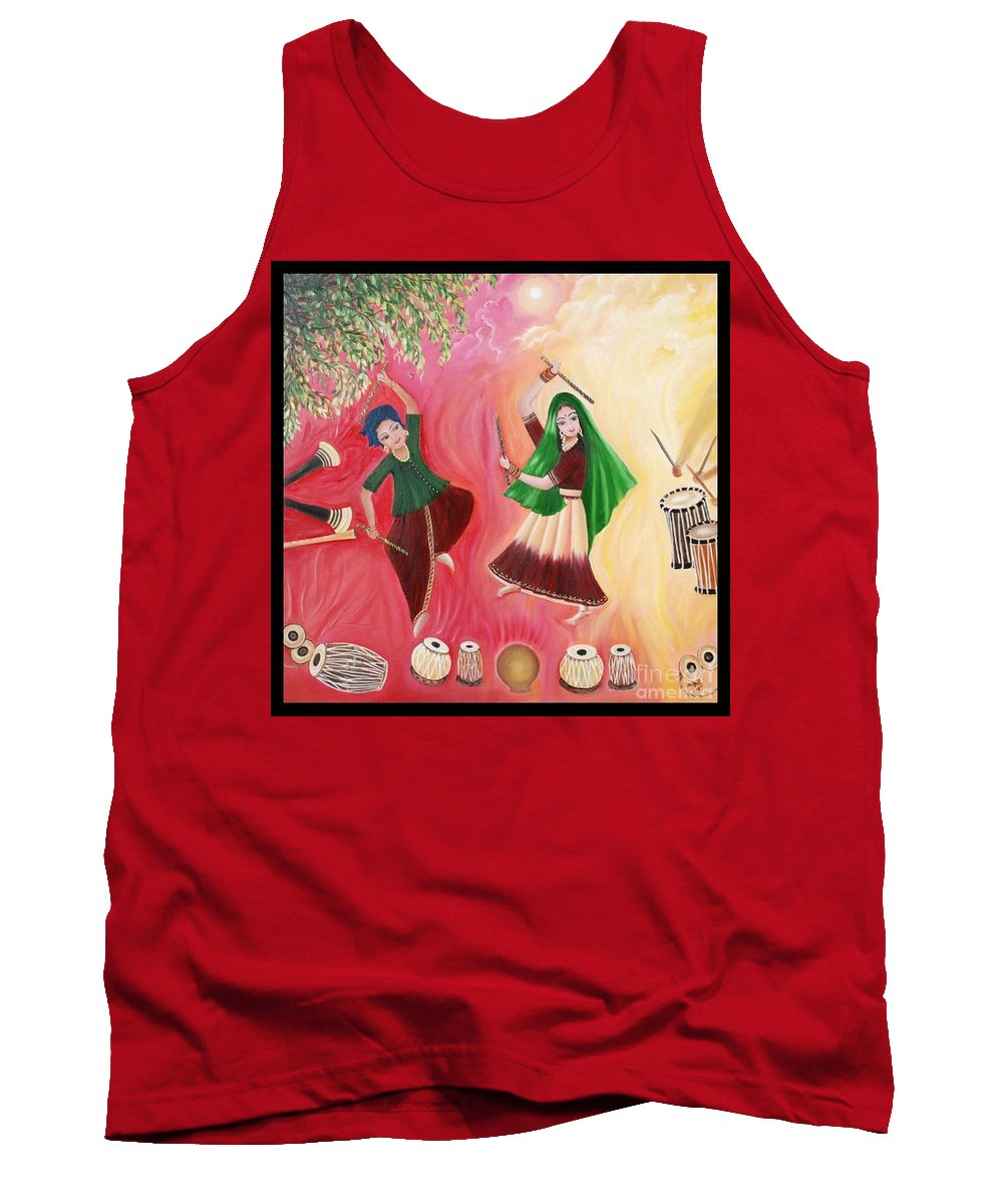 Figurative Tank Top featuring the painting Happiness by Usha Rai