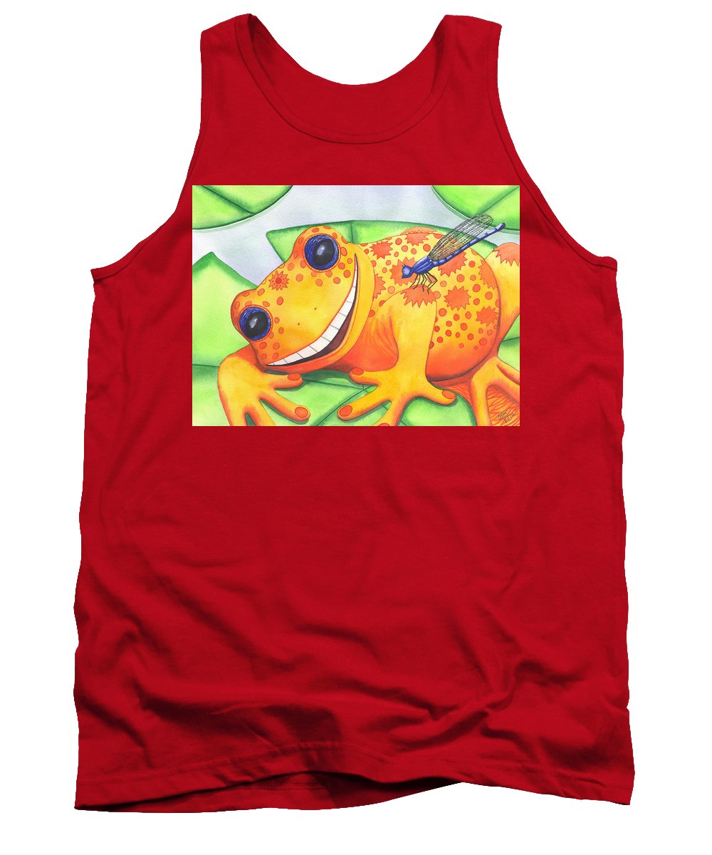 Frog Tank Top featuring the painting Happy Frog by Catherine G McElroy