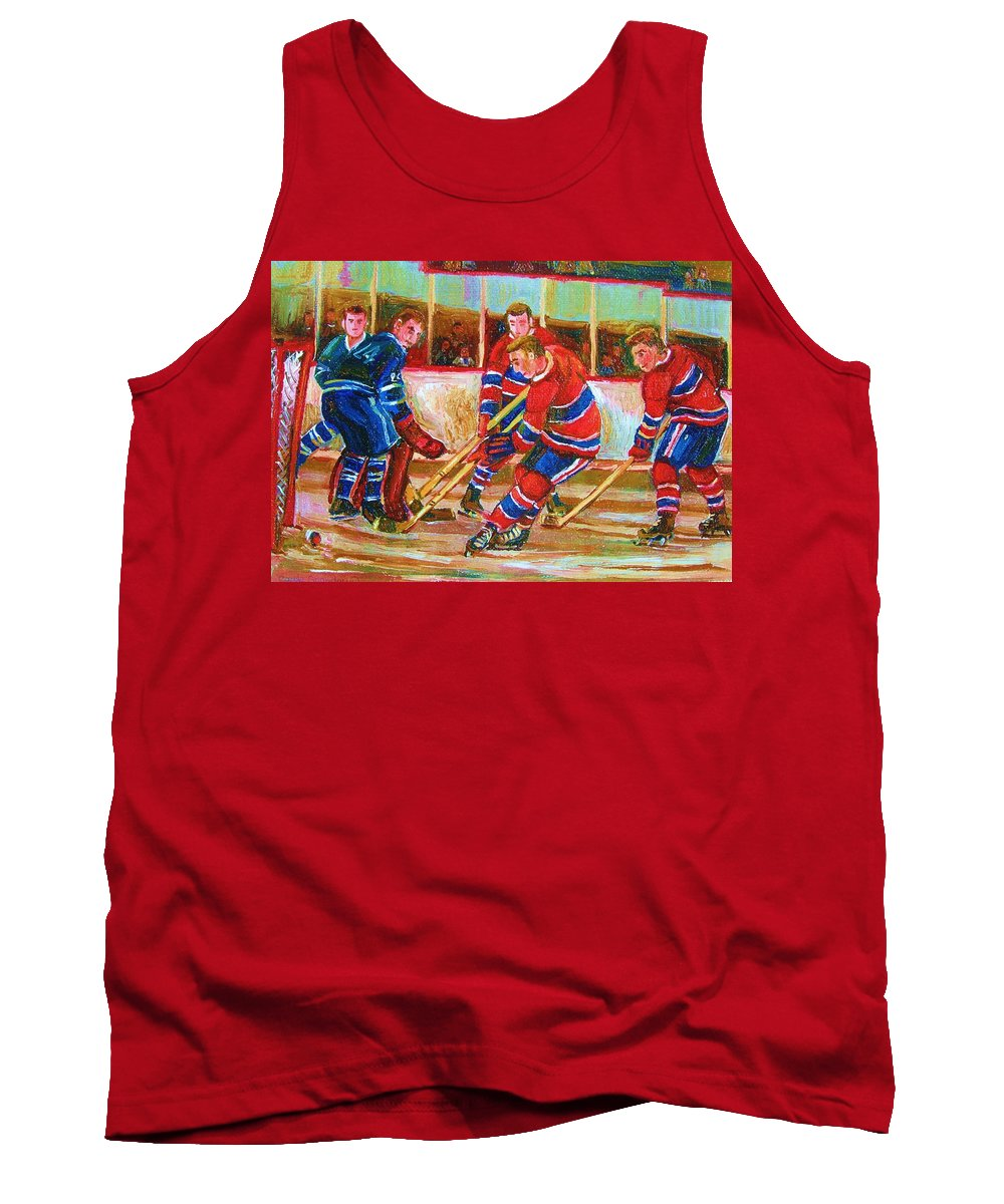 Hockey Tank Top featuring the painting He Shoots  He Scores by Carole Spandau