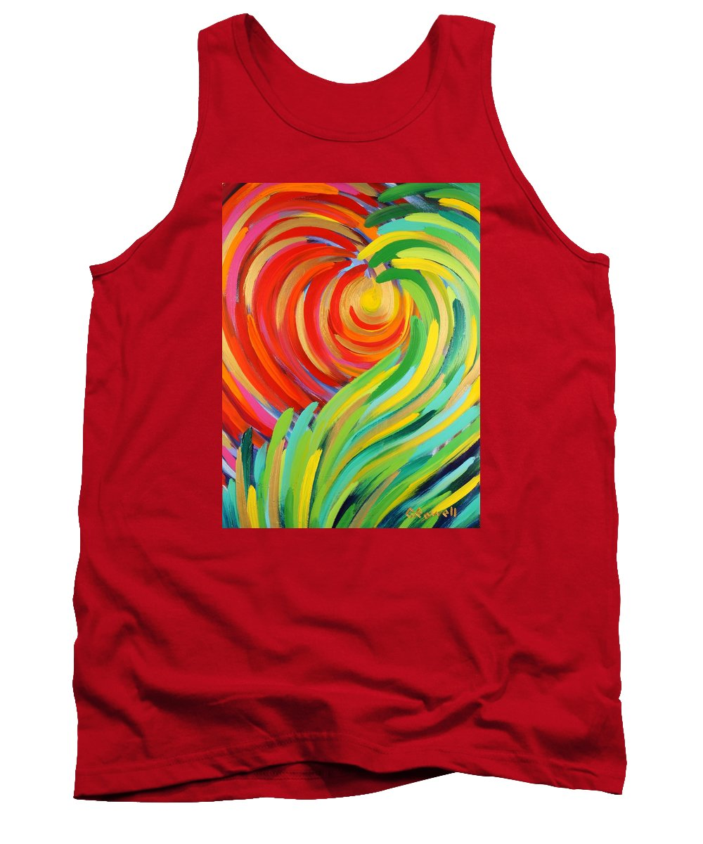 Abstract Tank Top featuring the painting Heart Of God by Gary Rowell