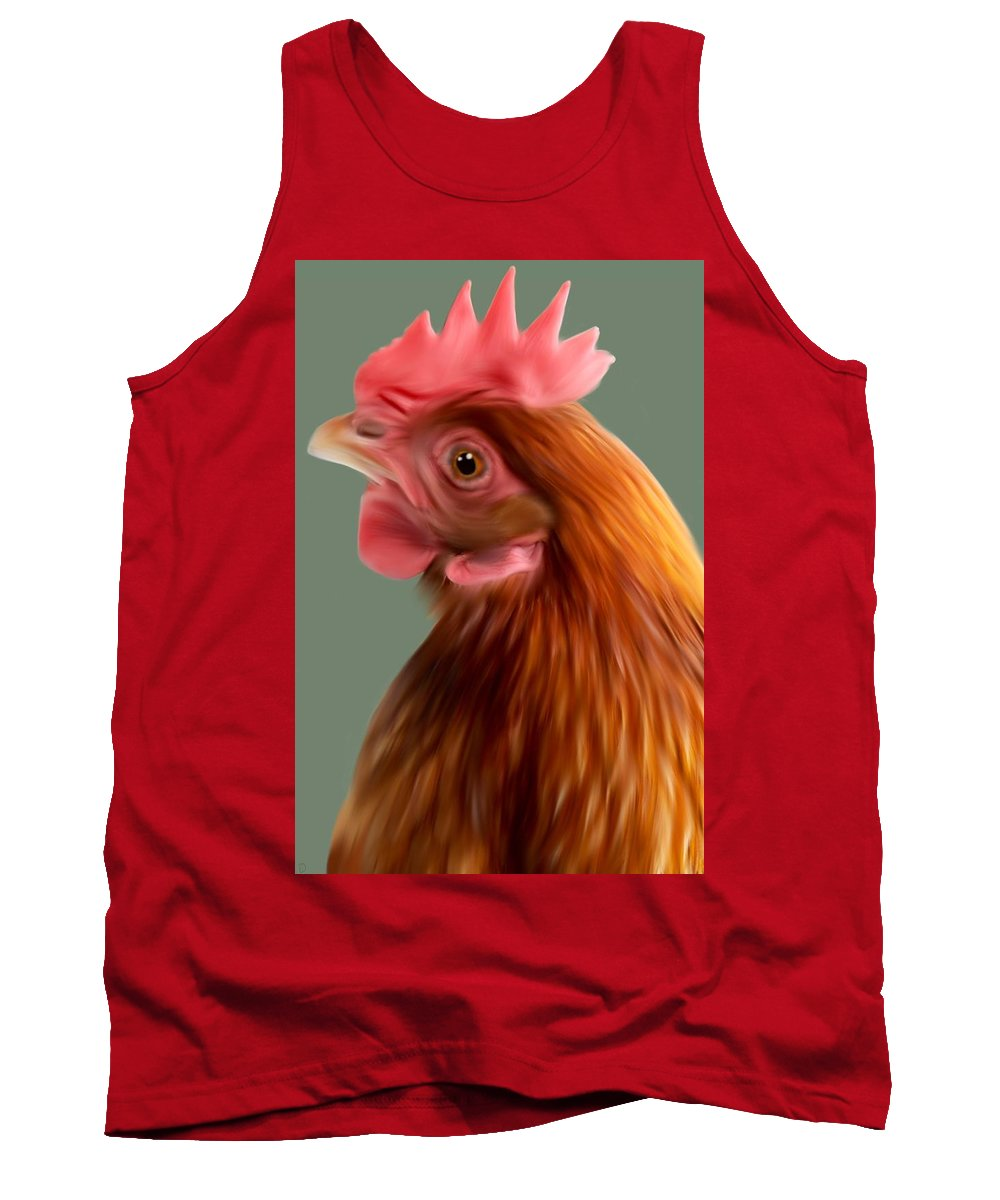 Chicken Tank Top featuring the painting Henrietta by Dave H
