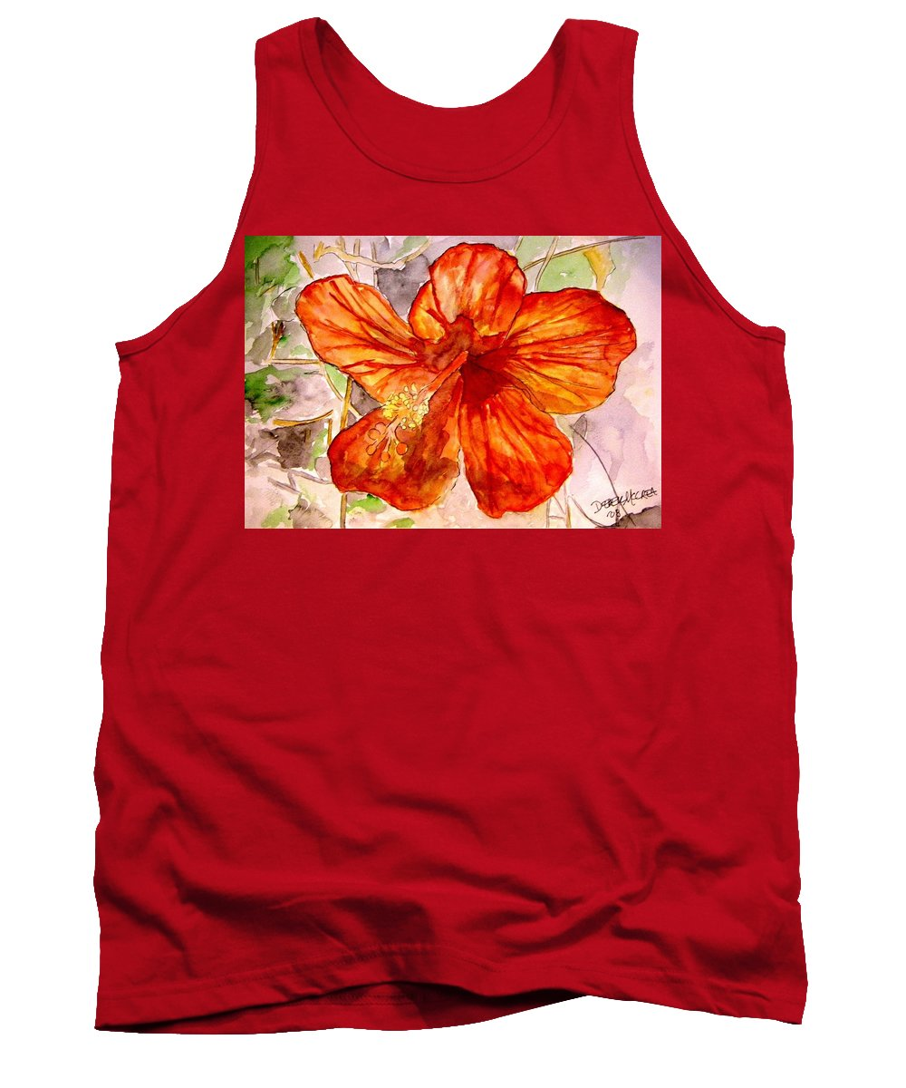Hibiscus Tank Top featuring the painting Hibiscus 2 by Derek Mccrea