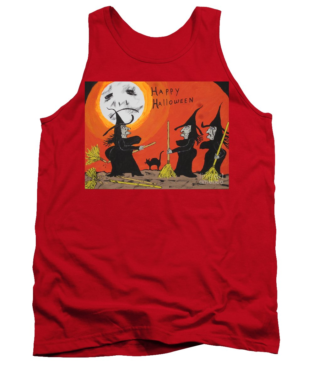 Halloween Tank Top featuring the painting Hide The Halloween Candy by Jeffrey Koss