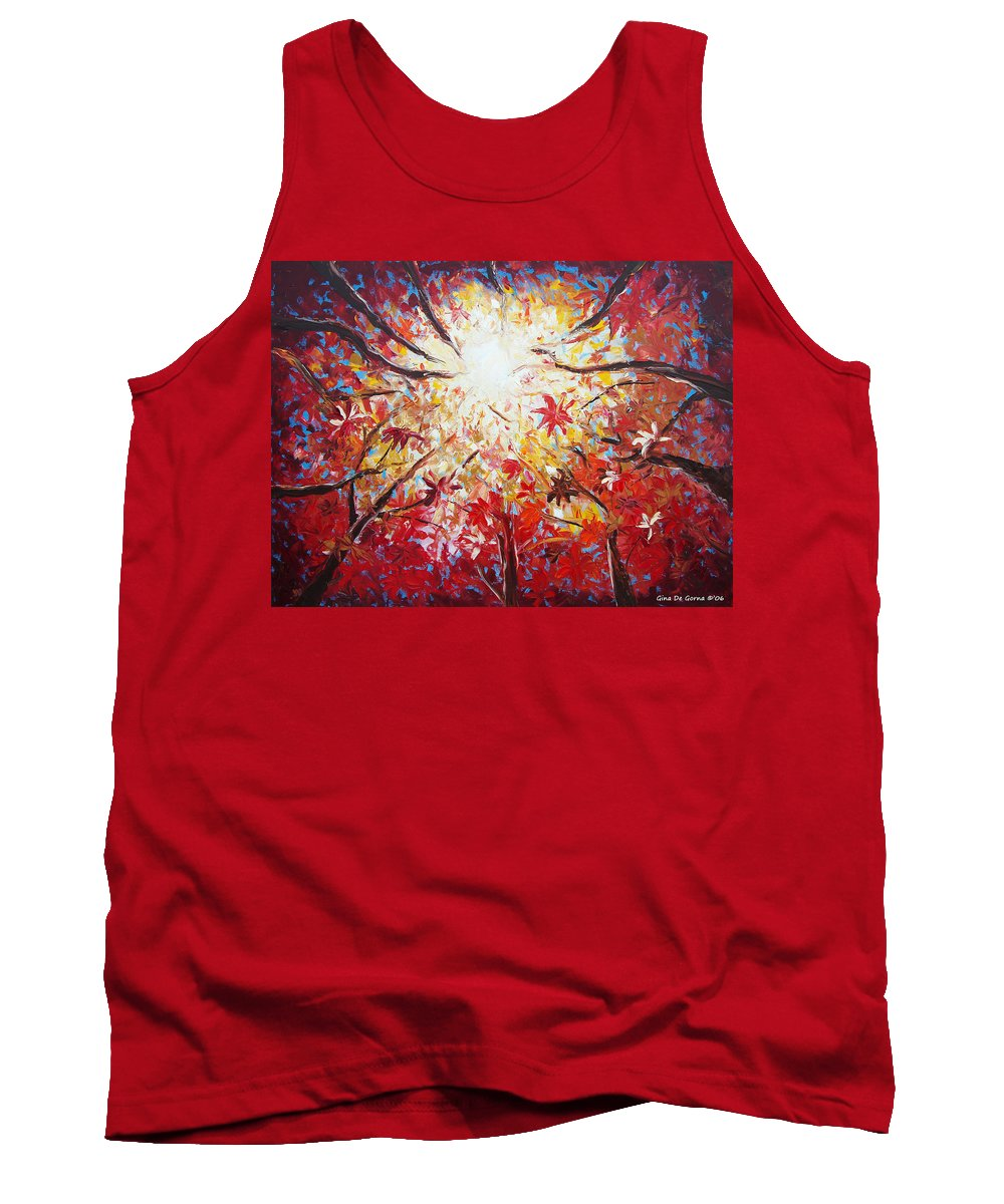 Red Tank Top featuring the painting High Red by Gina De Gorna