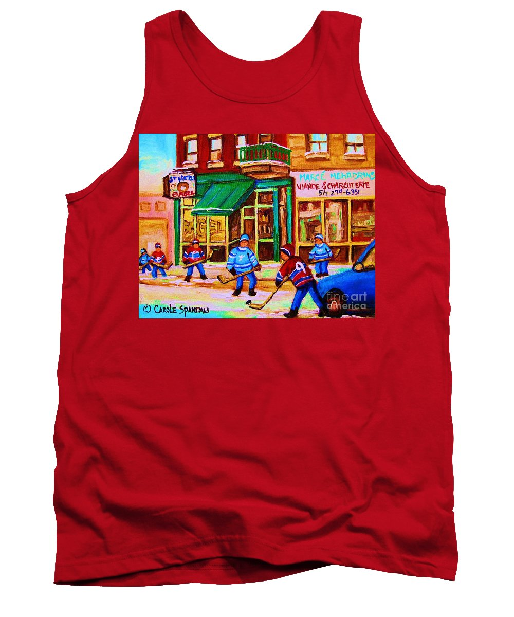 Hockey Art Tank Top featuring the painting Hockey At Mehadrins by Carole Spandau