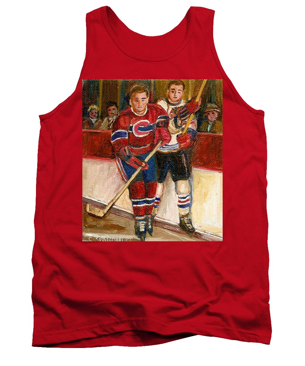Hockey Tank Top featuring the painting Hockey Stars At The Forum by Carole Spandau