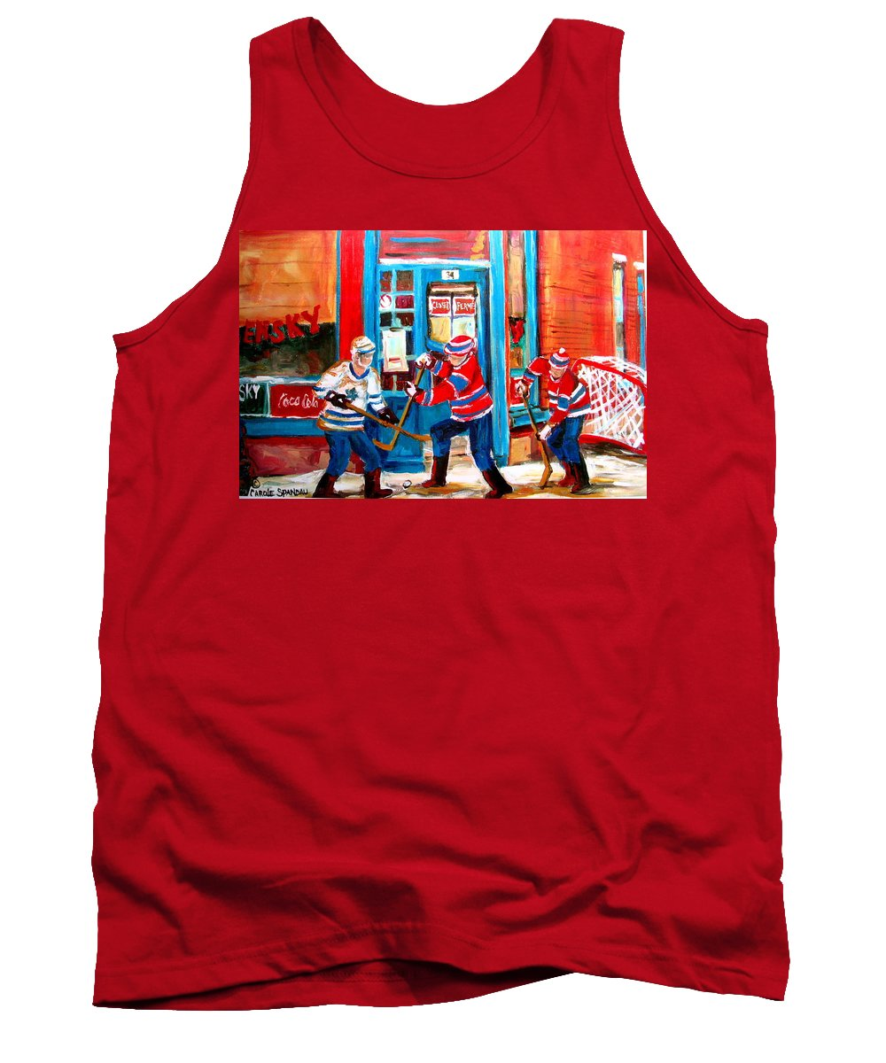 Wilenskys Tank Top featuring the painting Hockey Sticks In Action by Carole Spandau