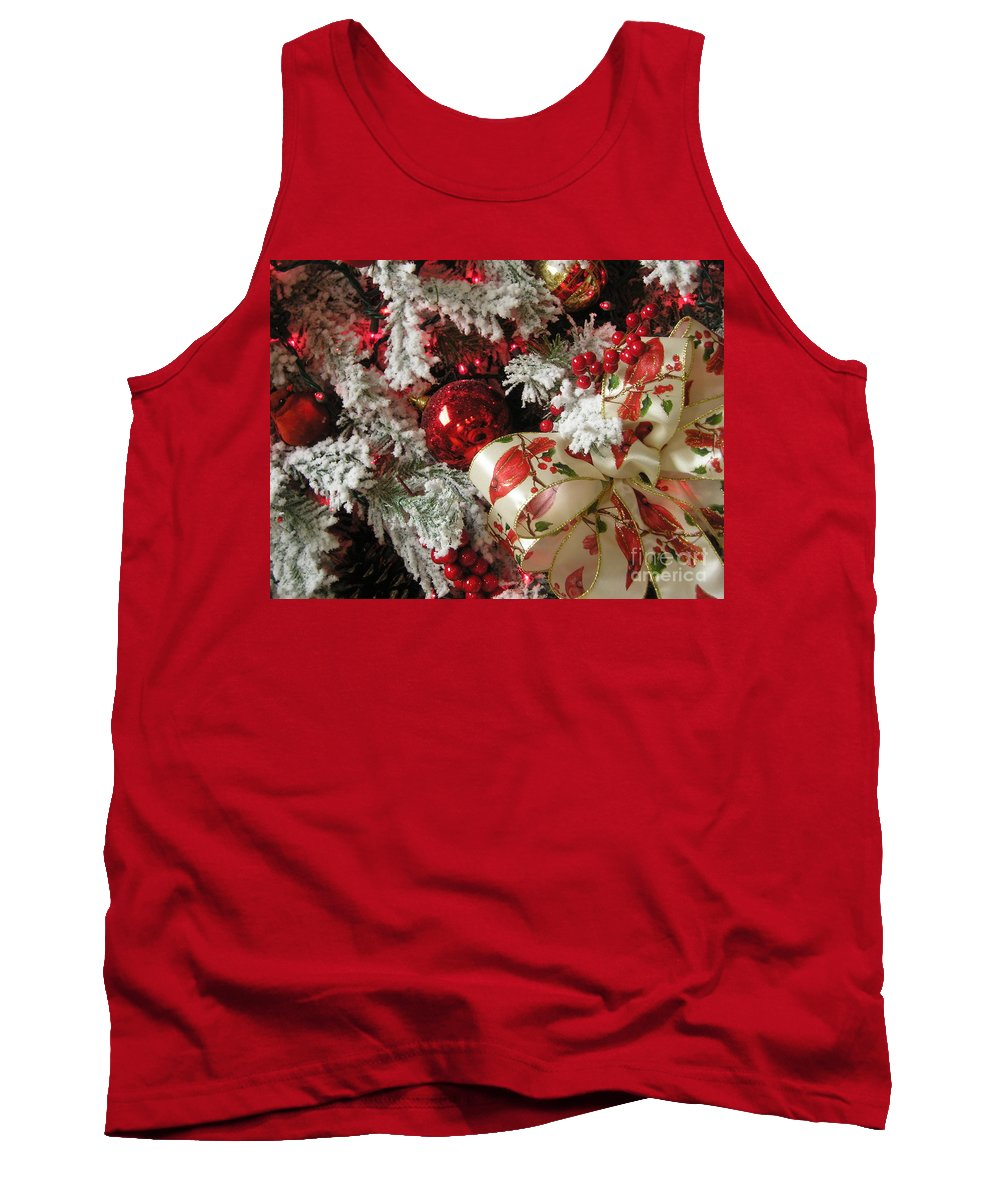 Tree Tank Top featuring the photograph Holiday Cheer I by Maria Bonnier-Perez