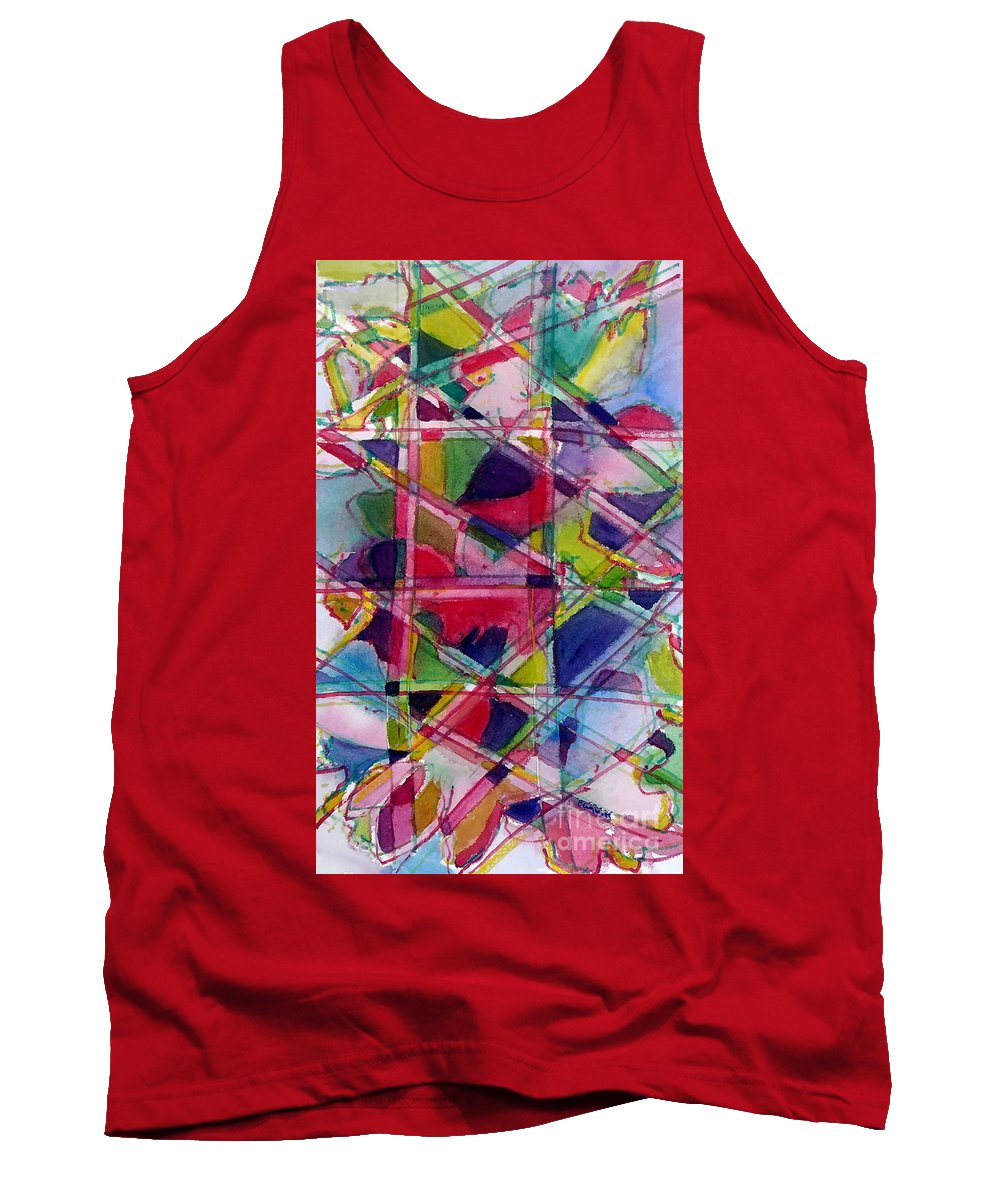 Abstract Tank Top featuring the painting Holiday Rush by Jan Bennicoff
