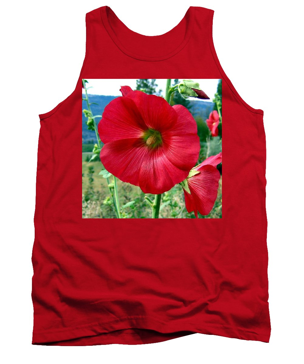 Hollyhocks Tank Top featuring the photograph Hollyhock Hill by Will Borden