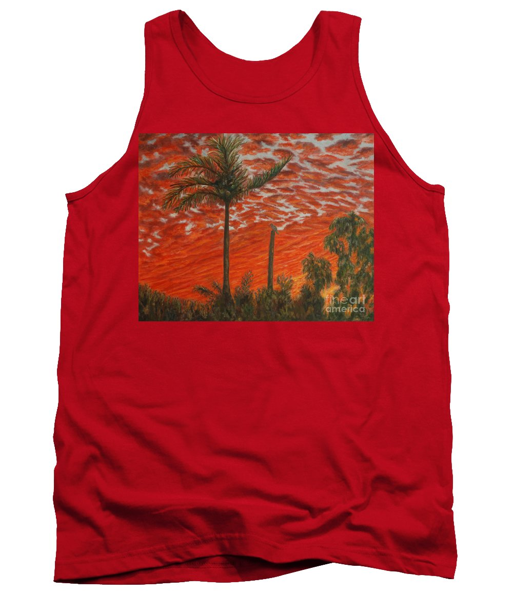 Sunset Tank Top featuring the painting Homestead Sunset by Alina Martinez-beatriz
