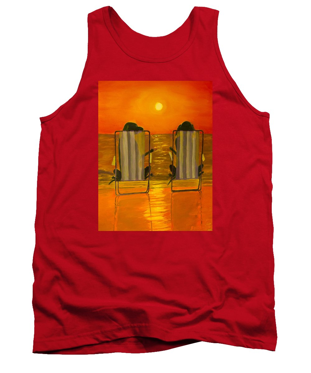 Black Lab Tank Top featuring the painting Hot Day At The Beach by Roger Wedegis