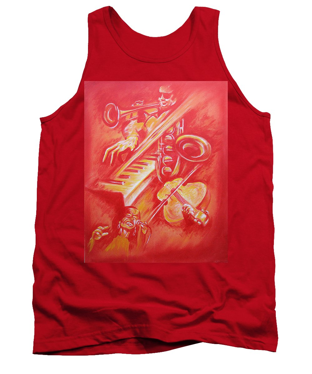 Jazz Music Instruments Singing Acrylic Canvas Tank Top featuring the painting Hot Jazz by Shaun McNicholas