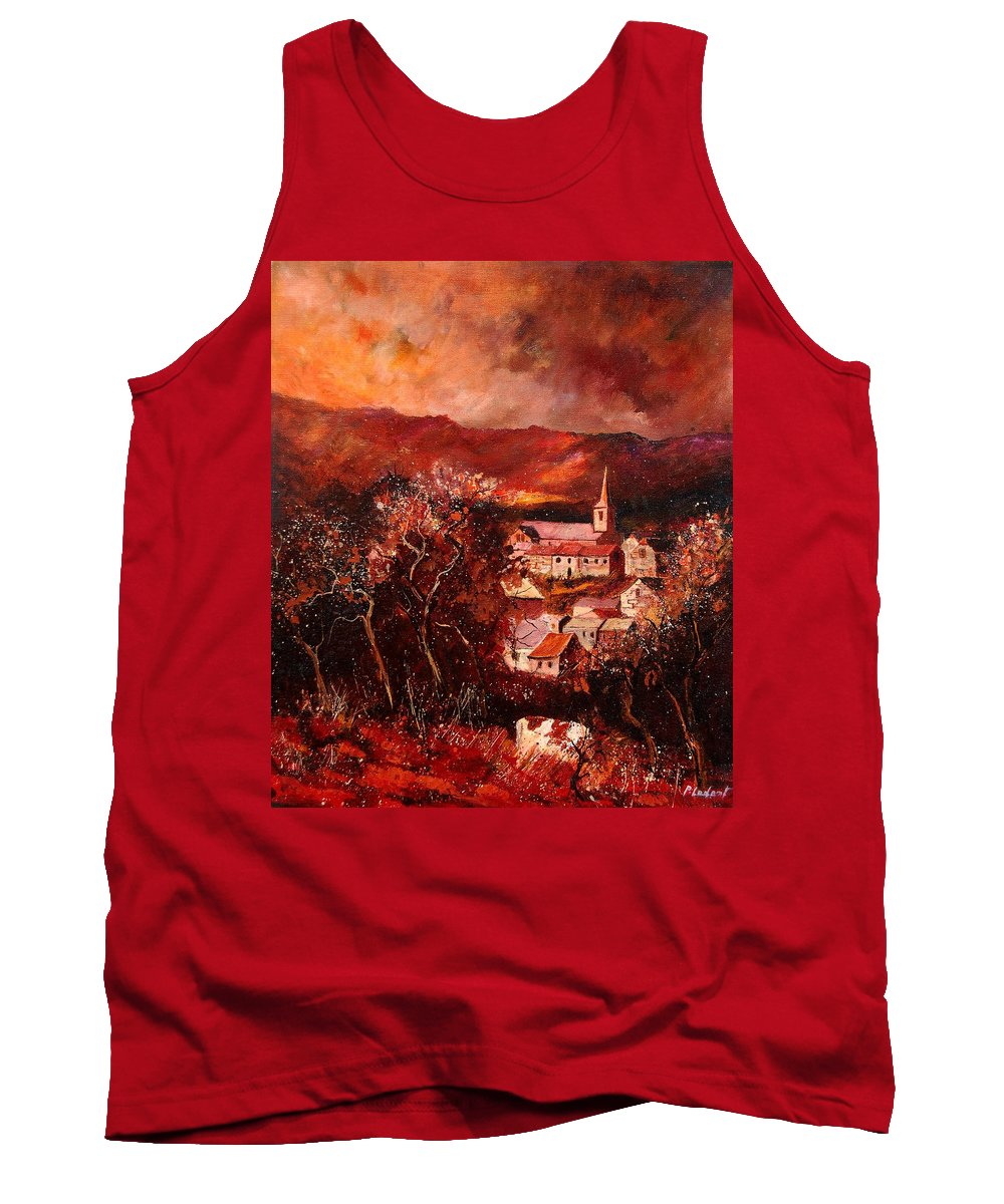 Tree Tank Top featuring the painting Hour Village 67 by Pol Ledent