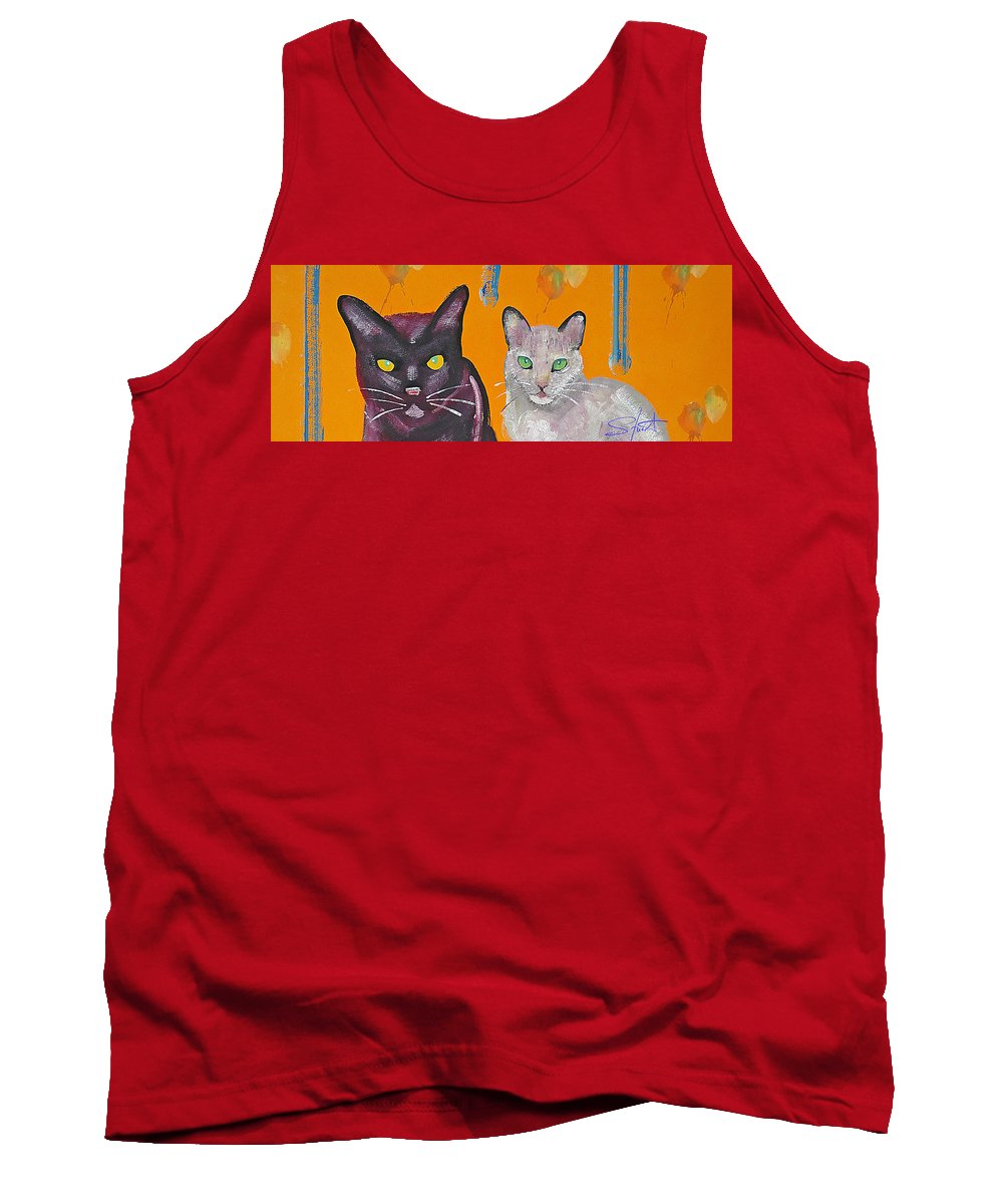 Cat Tank Top featuring the painting House Cats by Charles Stuart