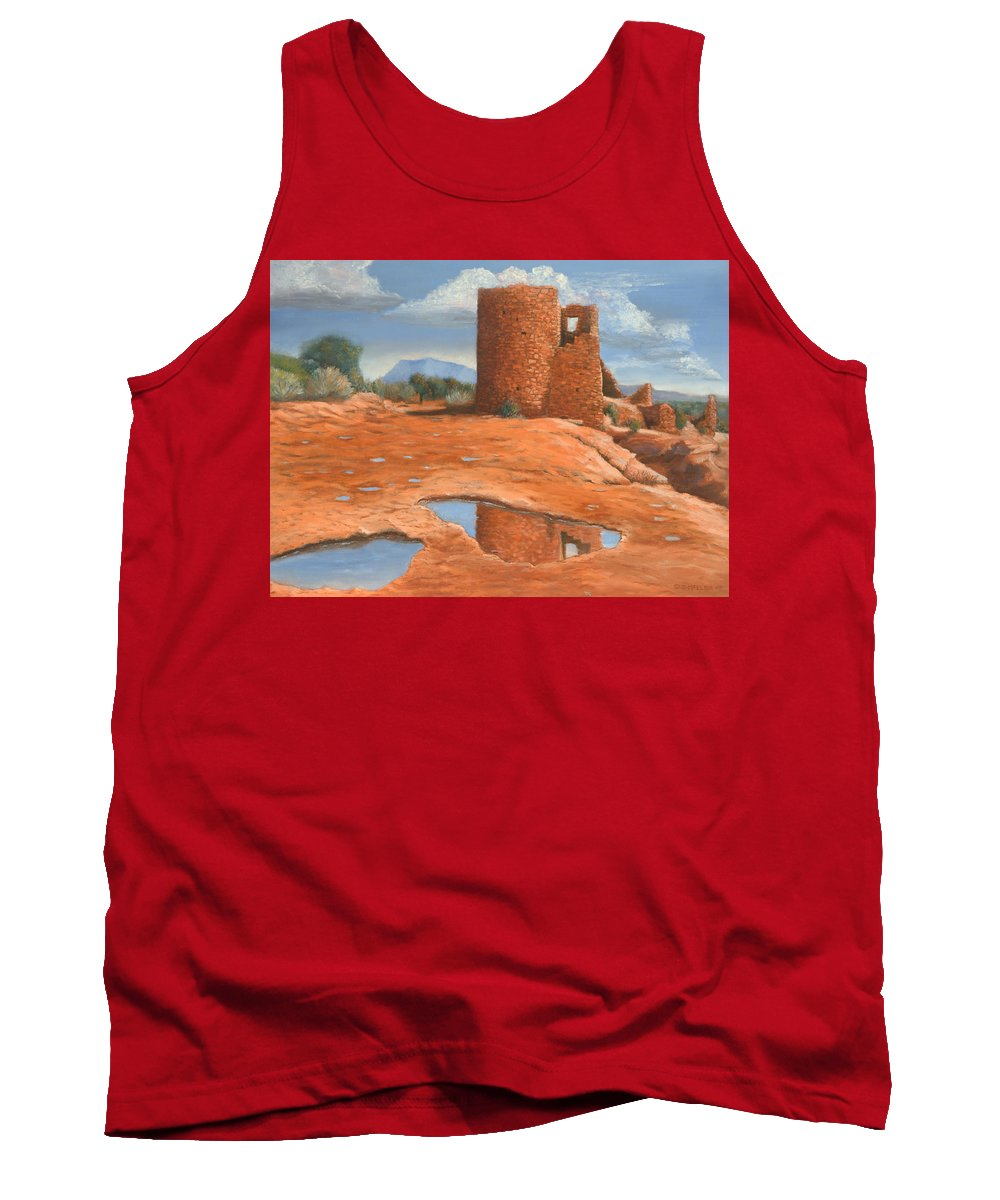 Anasazi Tank Top featuring the painting Hovenweep Reflection by Jerry McElroy