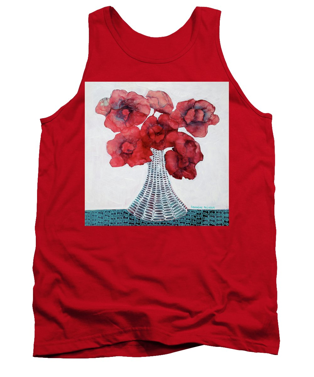 Abstract Flower Paintings Tank Top featuring the painting In Madison by Sandrine Pelissier