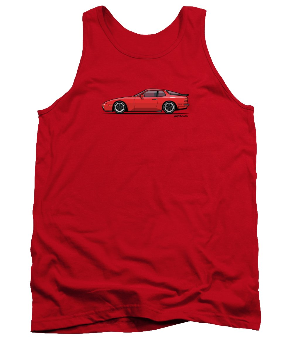 Porsche 944 Turbo Tank Top featuring the digital art India Red 1986 P 944 951 Turbo by Monkey Crisis On Mars