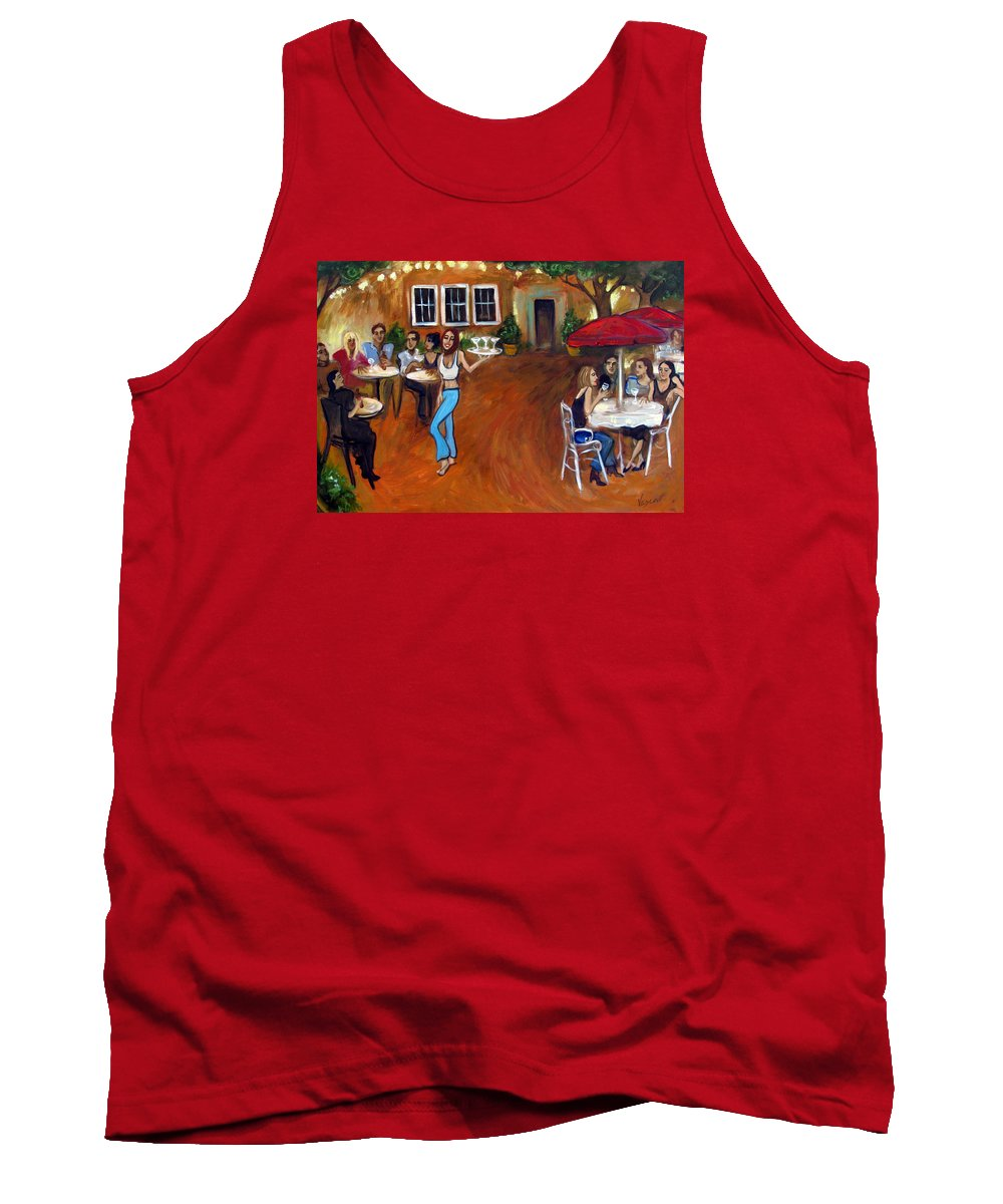 Bar Tank Top featuring the painting Indigo Alley by Valerie Vescovi
