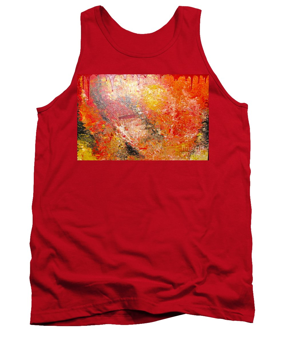 Red Tank Top featuring the painting Inferno by Jacqueline Athmann