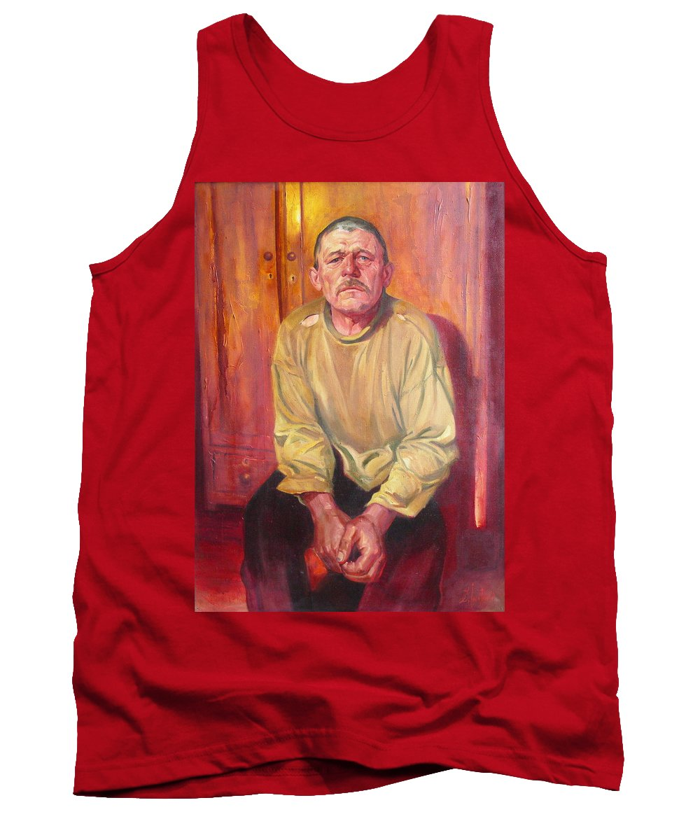 Oil Tank Top featuring the painting Inhabitant Of Chernobyl Zone by Sergey Ignatenko