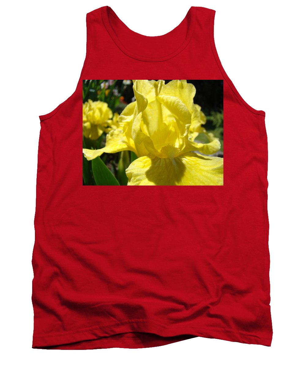 �irises Artwork� Tank Top featuring the photograph Irises Yellow Iris Flowers Floral Art Prints Botanical Garden Artwork Giclee by Baslee Troutman