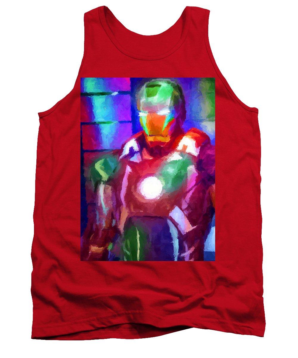 Ironman Tank Top featuring the digital art Ironman Abstract Digital Paint 2 by Ricky Barnard