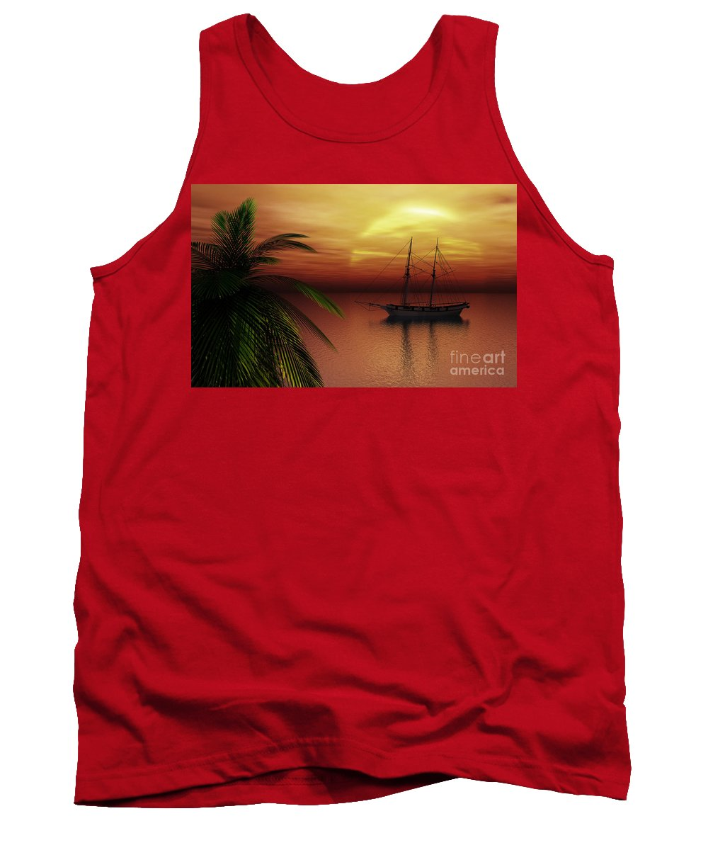 Tropical Tank Top featuring the digital art Island Explorer by Richard Rizzo