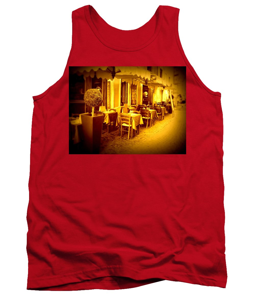 Italy Tank Top featuring the photograph Italian Cafe In Golden Sepia by Carol Groenen